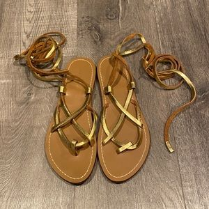 Gold leather tie sandals by Zara 8/39